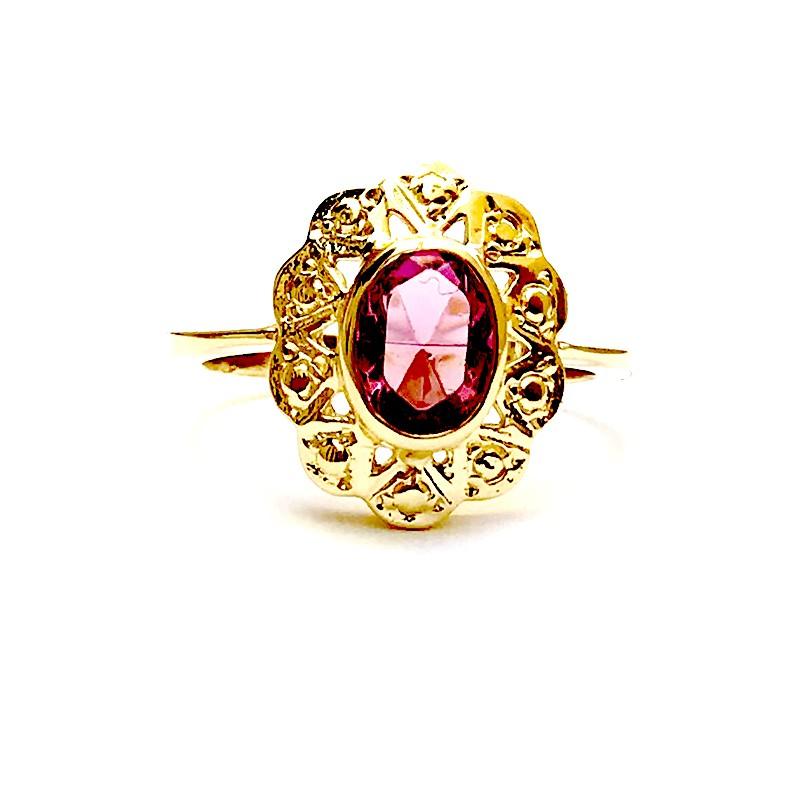 Anillo CUCARACHA Oro Piedra Rosa Francia