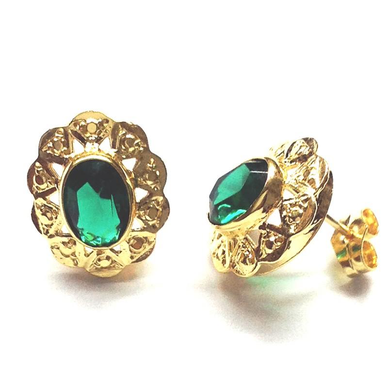 Pendientes CUCARACHA Oro Piedra Verde...