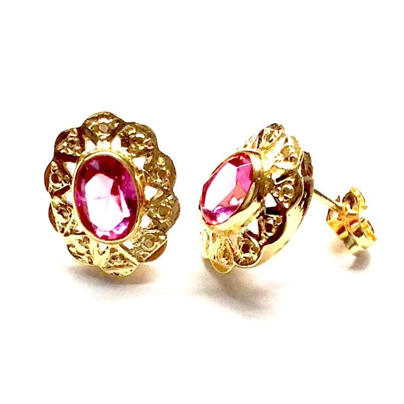 Pendientes CUCARACHA Oro Piedra Rosa...
