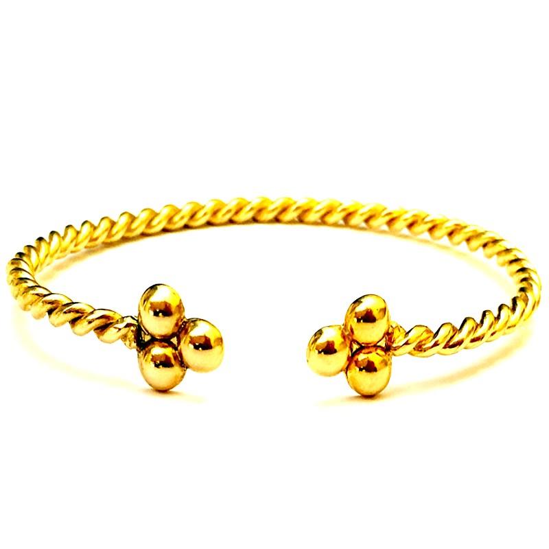 83870315c97b Pulsera SPIRAL Oro rígida fabricado en plata de ley